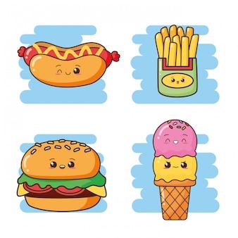Kawaii, comida rápida, lindo, comida rápida, helado, hamburguesa, perrito caliente, papas fritas, ilustración