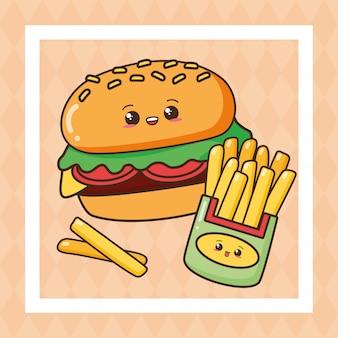 Kawaii, comida rápida, lindo, comida rápida, ilustración