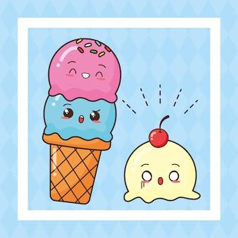 Kawaii, comida rápida, lindo, helado, ilustración