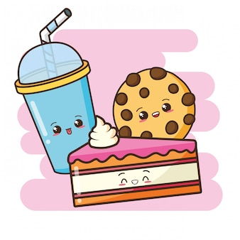 Kawaii, comida rápida, lindo, pastel, galleta, y, bebida, ilustración