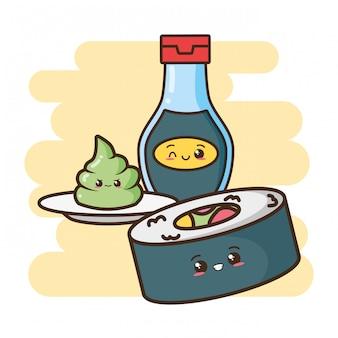 Kawaii comida rápida sushi y comida asiática ilustración