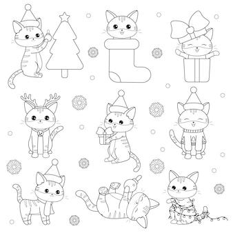Kawaii conjunto de gatos navideños
