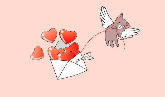Kawaii cupid cat está levantando corazones que dentro de la letra