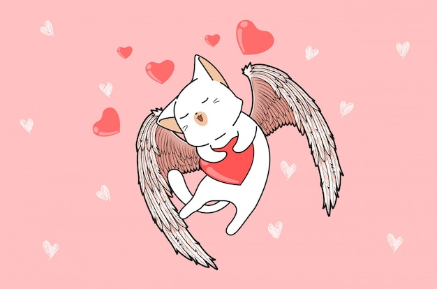 Kawaii cupido gato con corazón