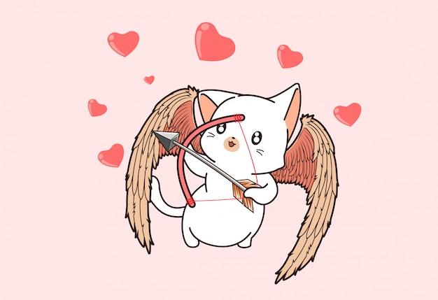 Kawaii cupido gato personaje con arquero en estilo de dibujos animados