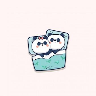 Kawaii cute panda couple san valentín