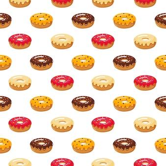 Kawaii cute pastel donuts dulces postres de verano patrón sin fisuras con diferentes tipos en blanco