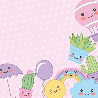 Kawaii dibujos animados esquina decoración planta paraguas sol nube