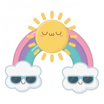 Kawaii de dibujos animados de sol