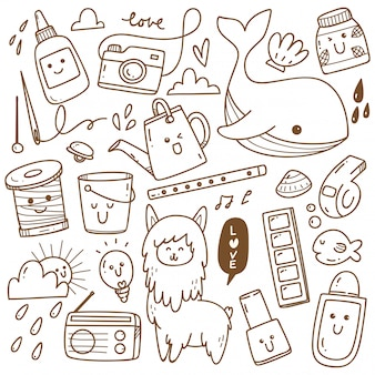 Kawaii doodle collection line art, adecuado para colorear