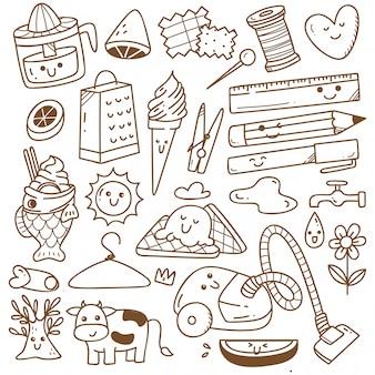 Kawaii doodle collection line art, adecuado para colorear
