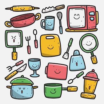 Kawaii doodle dibujos animados diseño herramientas de cocina ilustración