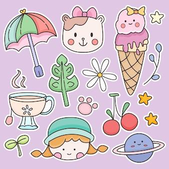 Kawaii doodle pegatina dibujo oso y niña