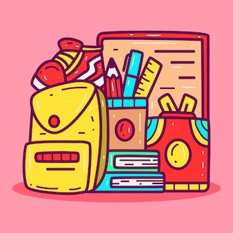 Kawaii doodle s regreso a la escuela