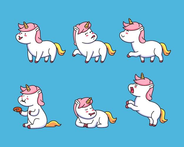 Kawaii establece pequeña pose de unicornio