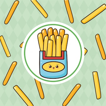 Kawaii fast food cute frieas con papas fritas ilustración