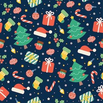 Kawaii feliz navidad de patrones sin fisuras