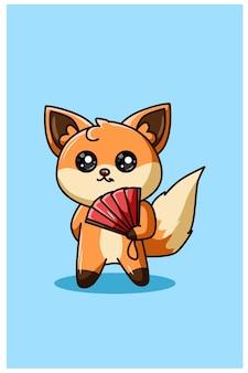 Kawaii y feliz zorro con ilustración de dibujos animados de ventilador
