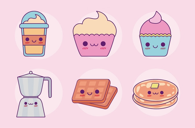 Kawaii food set diseño de dibujos animados