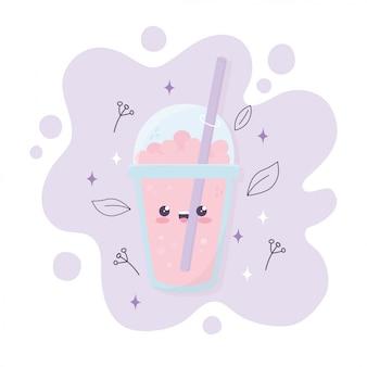 Kawaii frappe taza de café con gorro cartoon