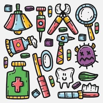 Kawaii, garabato, caricatura, dentista, ilustración