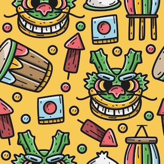 Kawaii, garabato, caricatura, dragón, festival, patrón