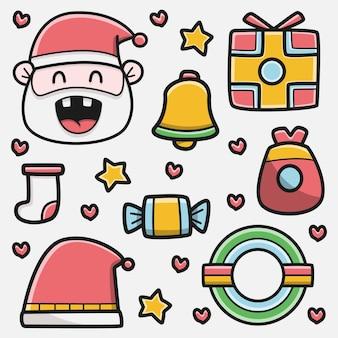 Kawaii, garabato, caricatura, navidad, diseño, ilustración