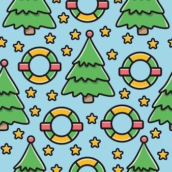 Kawaii, garabato, caricatura, navidad, patrón, diseño
