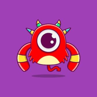 Kawaii, garabato, monstruo, caricatura, carácter