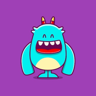 Kawaii, garabato, monstruo, caricatura, ilustración