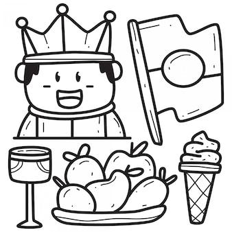 Kawaii, garabato, rey, caricatura