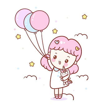 Kawaii girl cartoon abrazo unicornio vector