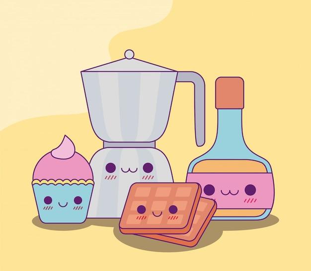 Kawaii hervidor de café cupcake waffles y diseño de jarabe
