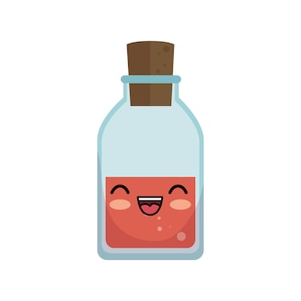 Kawaii linda botella de vidrio médica
