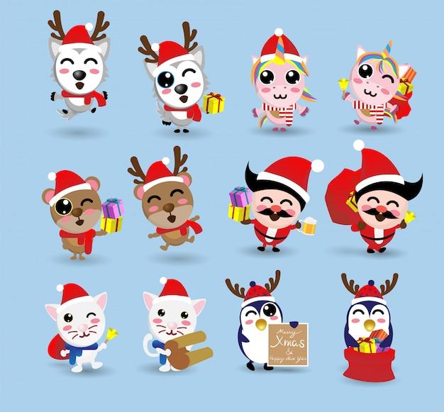 Kawaii linda navidad santa claus y amiga