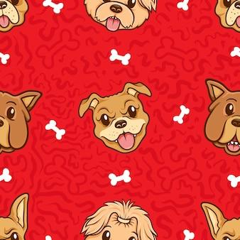 Kawaii, lindo, cabeza, perro, seamless, patrón