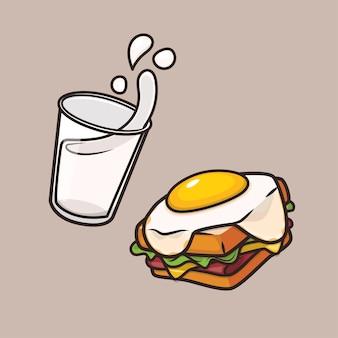 Kawaii lindo desayuno leche y huevo sándwich icono mascota ilustración