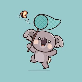 Kawaii lindo koala con ilustración de mascota de icono de mariposa