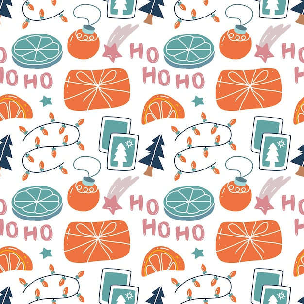 Kawaii lindo patrón transparente de navidad en estilo escandinavo.