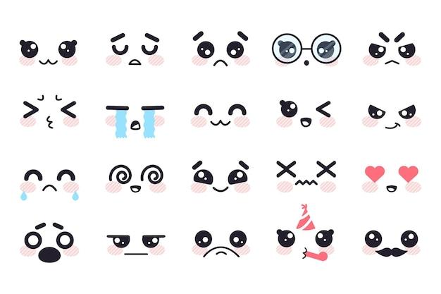 Kawaii manga enfrenta personajes japoneses lindos emoji emociones faciales sonrisa triste ira llorar alegría amor