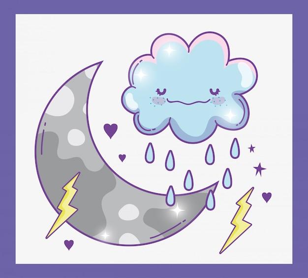 Kawaii mullida nube lloviendo con truenos y luna