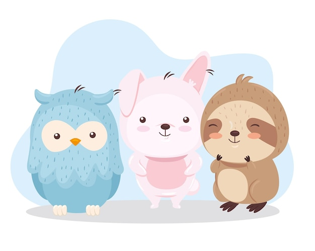 Kawaii pájaro conejo y oso perezoso ilustración de dibujos animados de animales