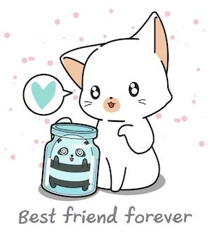 Kawaii panda en la botella y gato gigante