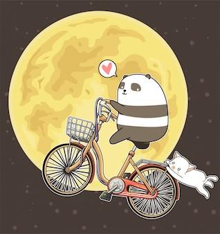 Kawaii panda está montando bicicleta en el fondo de la luna