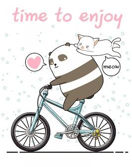 Kawaii panda está montando una bicicleta con un gato. tiempo para disfrutar
