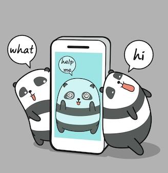 Kawaii panda preso en teléfono móvil