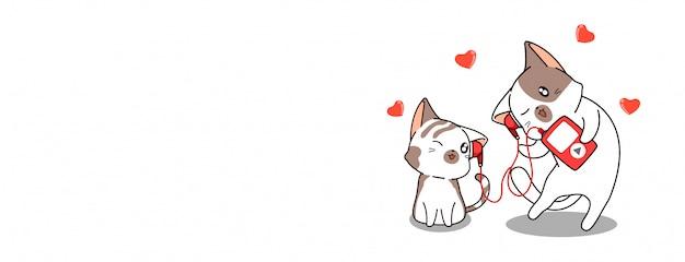 Kawaii pareja gato está escuchando canción de amor