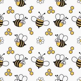 Kawaii de patrones sin fisuras lindo bebé abeja de dibujos animados