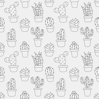 Kawaii de patrones sin fisuras lindo cactus dibujos animados aislado