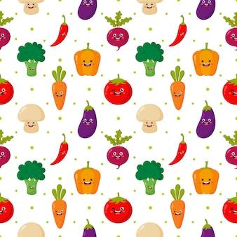 Kawaii de patrones sin fisuras personajes de dibujos animados divertidos vegetales aislados en blanco.